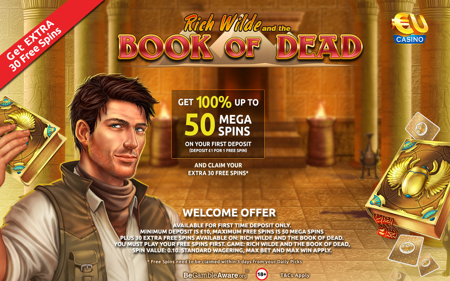 Special Welcome offer at EUcasino on Book of Dead Slot