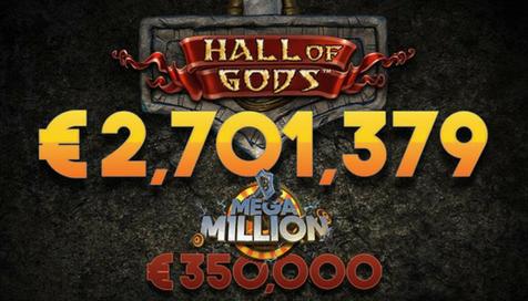 """NetEnt reparte un nuevo Jackpot en 'Hall of Gods' dentro de su campaña """"Mega Million"""""""